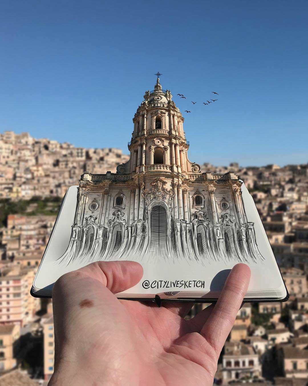 Pietro Cataudella lässt Zeichnungen mit der Realität verschmelzen CityLiveSketch-Pietro-Cataudella_07