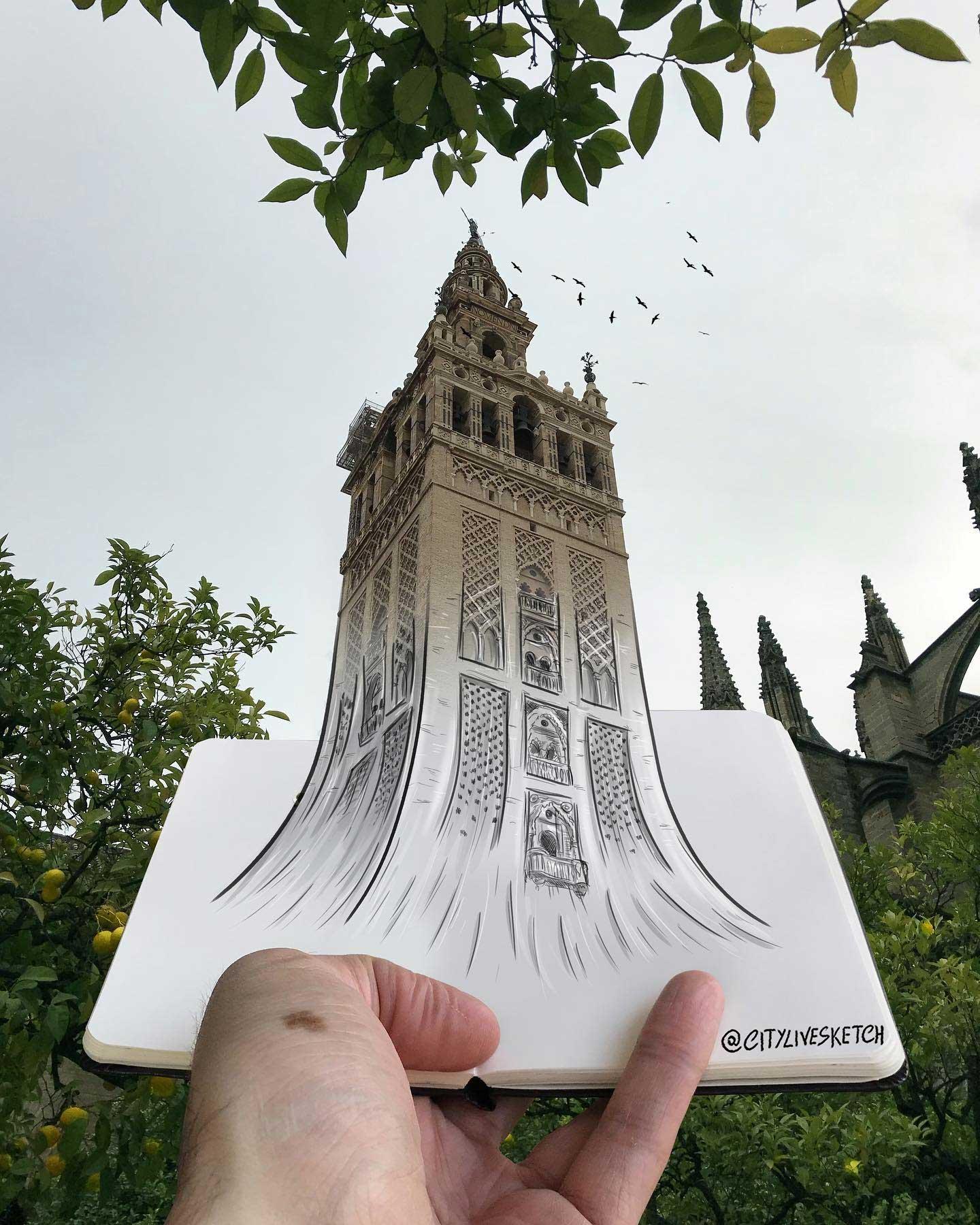 Pietro Cataudella lässt Zeichnungen mit der Realität verschmelzen CityLiveSketch-Pietro-Cataudella_10