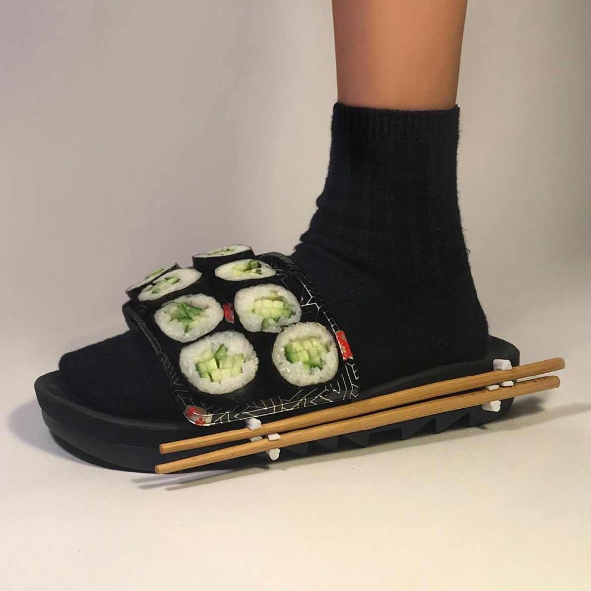 Gummibären-Hose, Sushi-Schlappen oder Waffel-Weste Nicole-McLaughlin-food-fashion_08