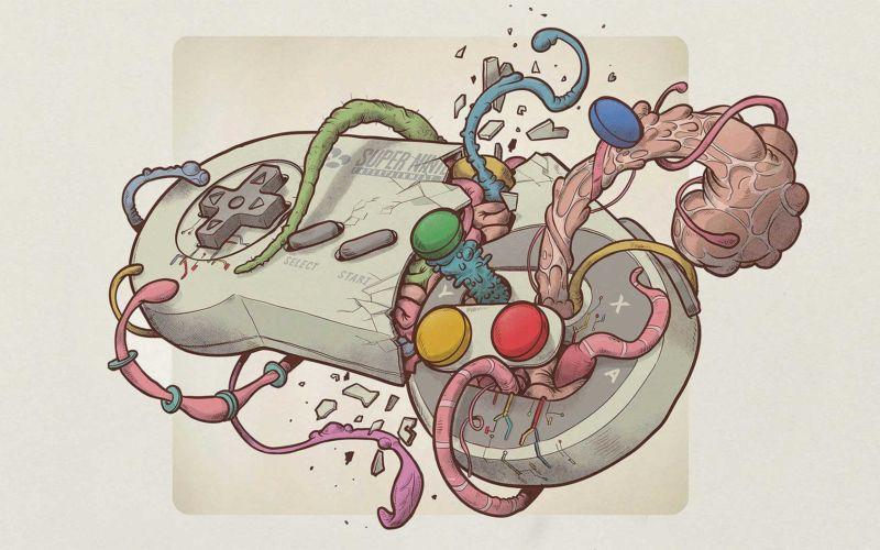 Illustration: Videospiel-Tentakel-Controller