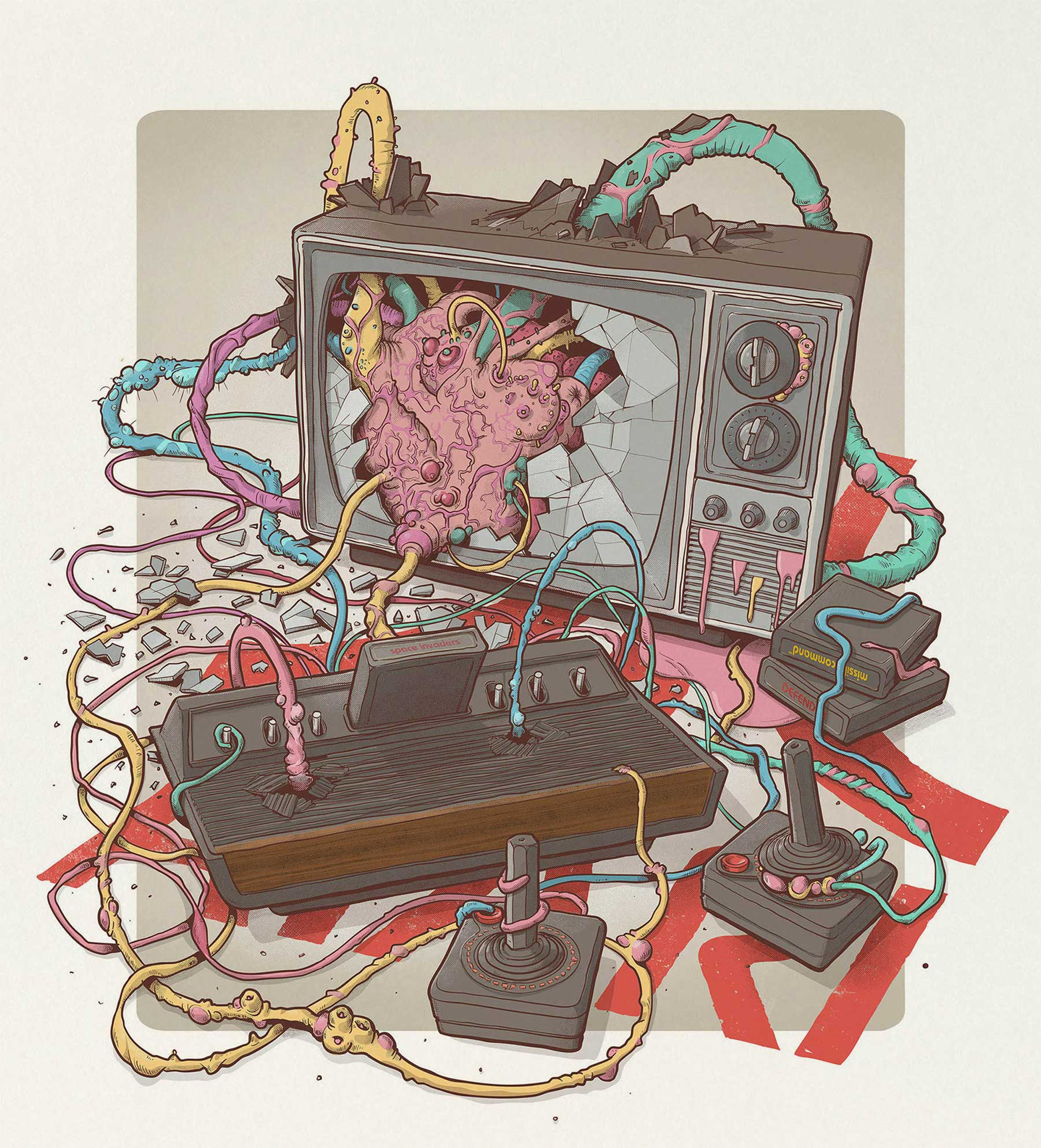 Illustration: Videospiel-Tentakel-Controller Paul-Hollingworth-Out-of-Control-tentakelcontroller_05