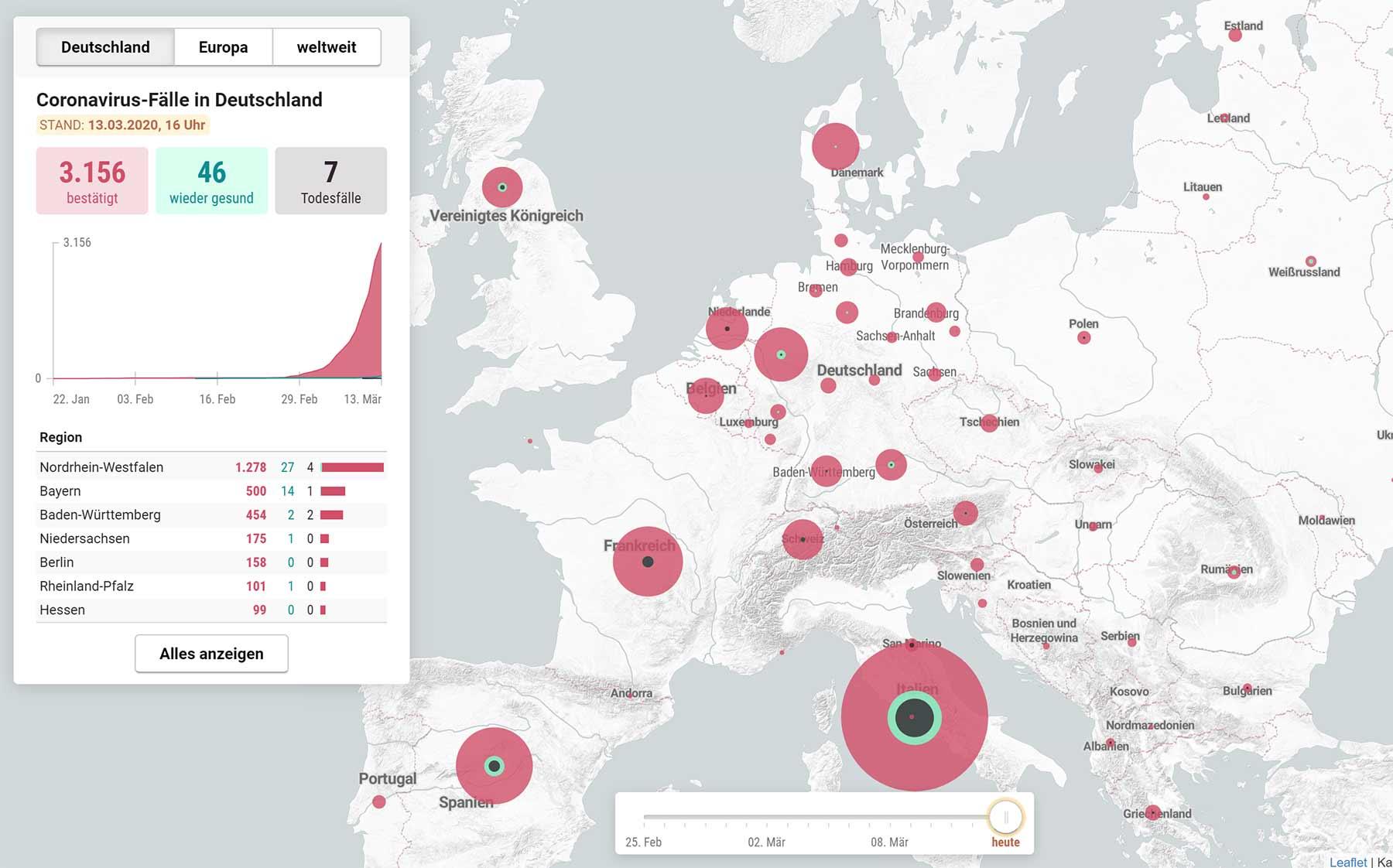Coronavirus-Monitor: Echtzeit-Karte zeigt Infektionen weltweit interaktive-karte-coronavirusfaelle-weltweit