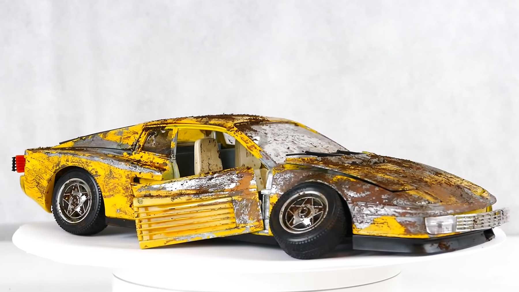 Restauration eines alten Ferrari-Modellautos