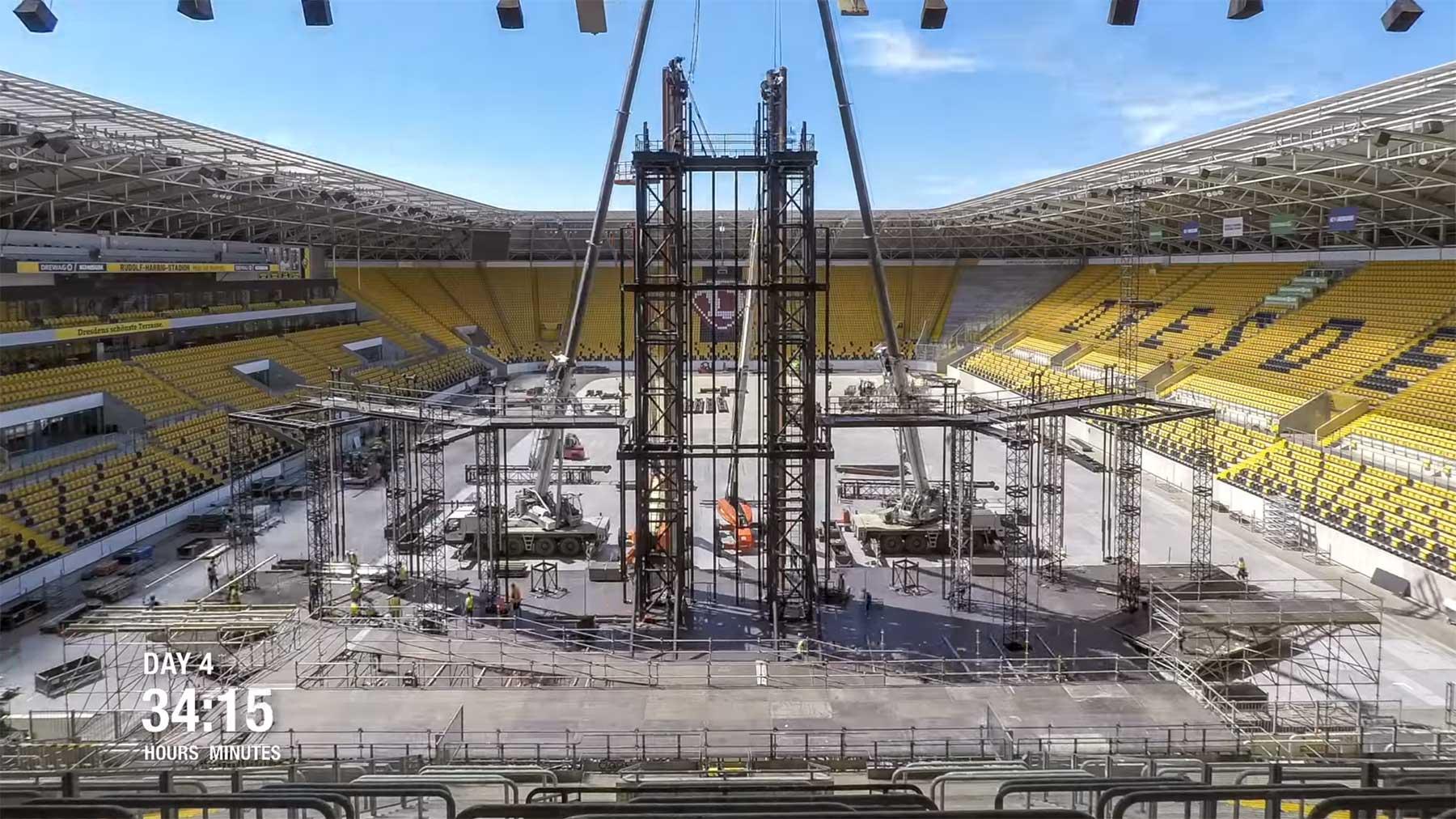 Timelapse-Video: Stadionumbau für Rammstein-Konzert