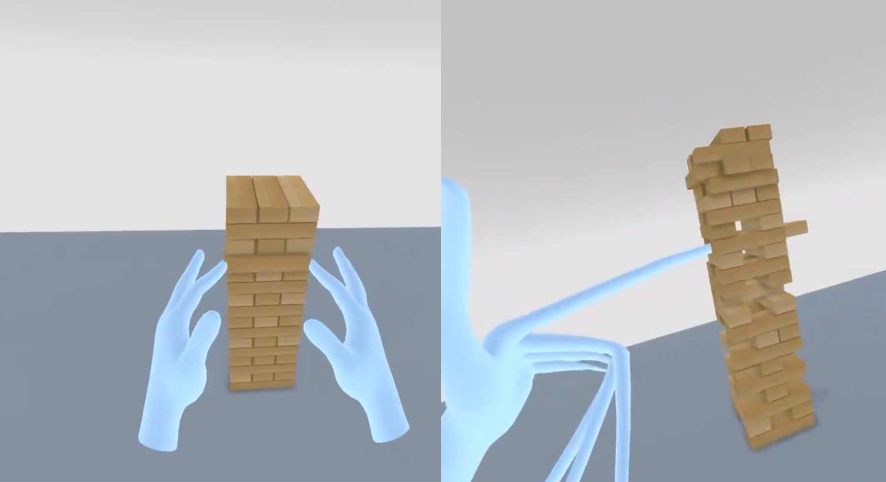 In diesem Jenga-VR-Spiel werden eure Finger bei jedem Zug länger