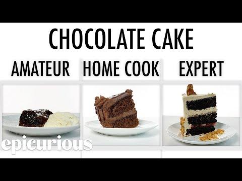 Köche unterschiedlicher Fähigkeitsstufen backen Schokoladenkuchen