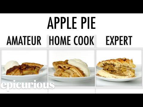 Köche unterschiedlicher Fähigkeitsstufen backen Apfelkuchen