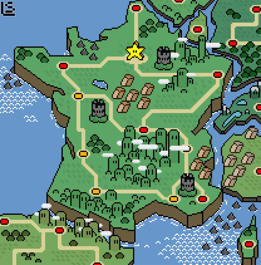 "Landkarten im ""Super Mario World""-Design"