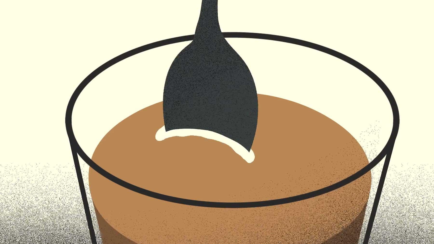 Das nervige Klirren eines Löffels im Milchkaffee-Glas
