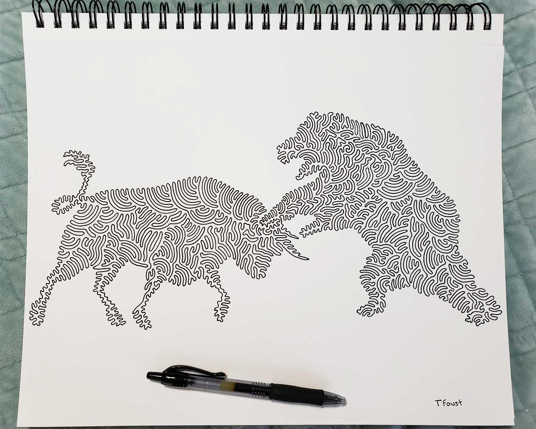 Aus einer Linie gemalte Bilder von Tyler Foust Tyler-Foust-one-line-drawings_01
