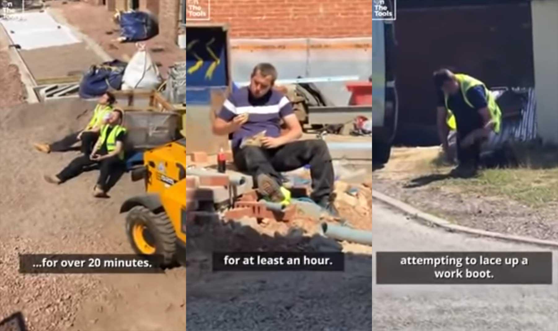 Bauarbeiter im Stile einer Naturdoku kommentiert