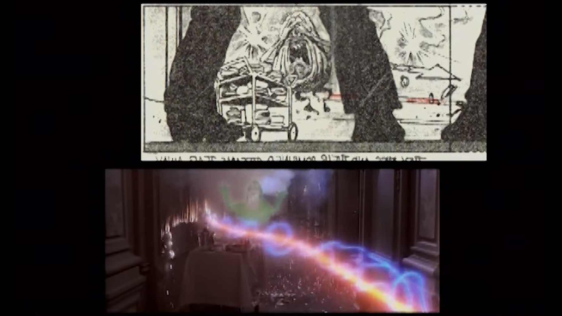 "Slimer-Szene in ""Ghostbusters"": Storyboard vs. Film ghostbusters-slimer-storyboard-scene"