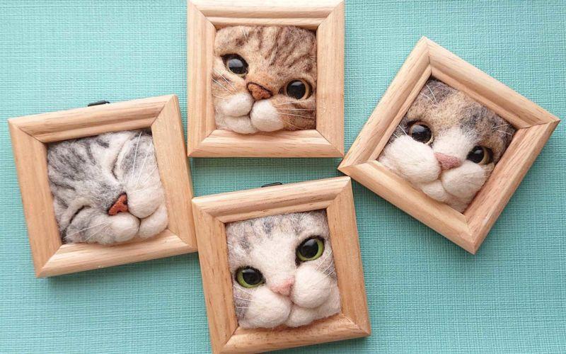Süße Filz-Katzen von Fujita Satomi