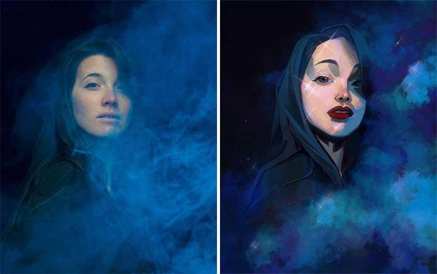 Fotograf Mathieu Stern bat Digital Artists, seine Portraits nachzumalen Mathieu-Stern-drawthisinyourstyle-challenge_03