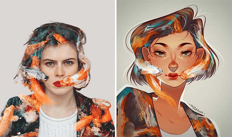 Fotograf Mathieu Stern bat Digital Artists, seine Portraits nachzumalen Mathieu-Stern-drawthisinyourstyle-challenge_06