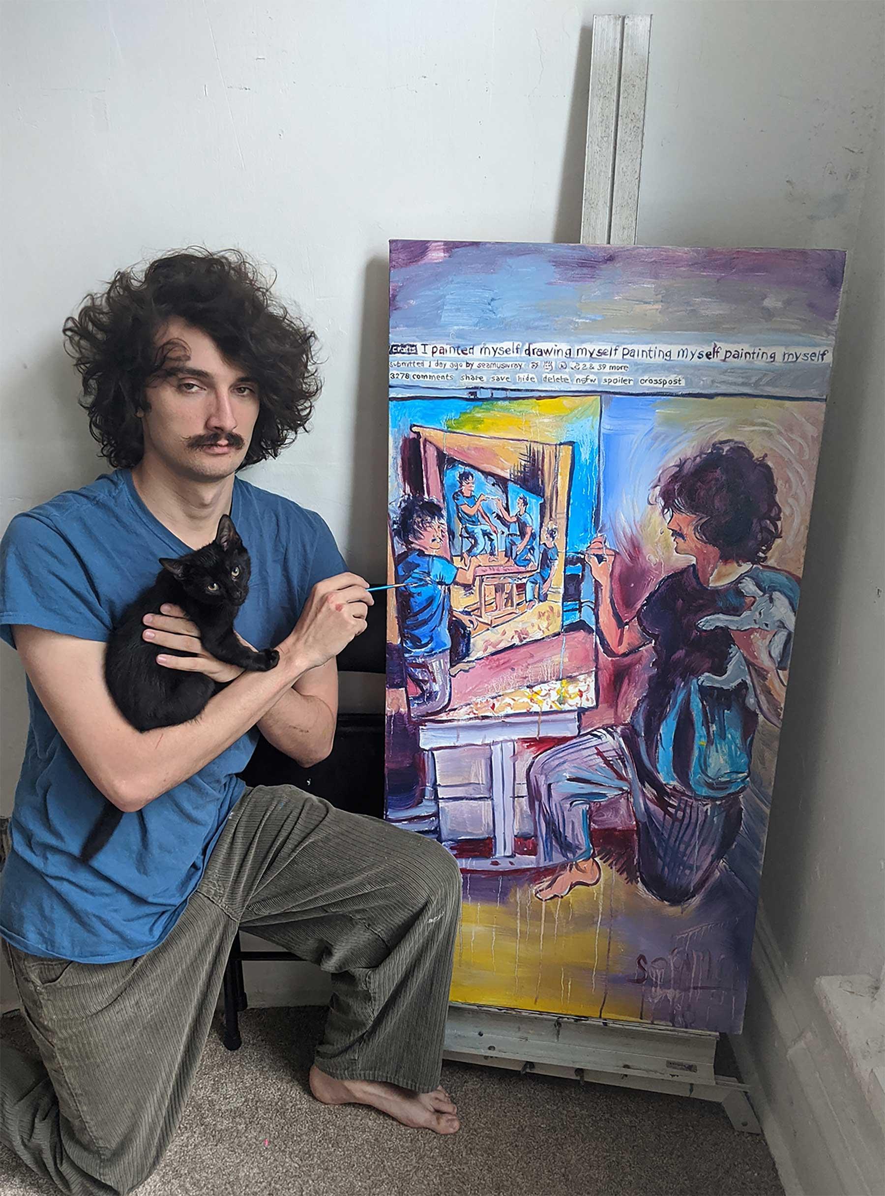 Seamus Wray malt sich, wie er sich malt, wie er sich malt, wie ... Seamus-Wray-self-portrait-meta-levels_06