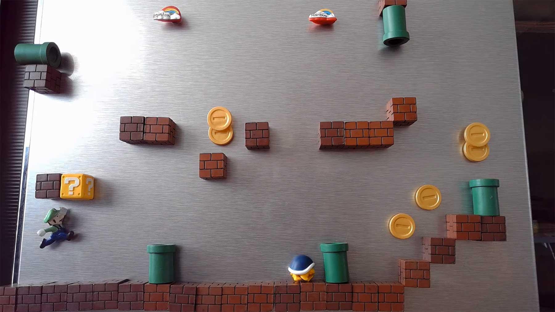 Super-Mario-Stopmotion mit Kühlschrank-Magneten Super-Mario-kuehlschrank-magnet-stopmotion