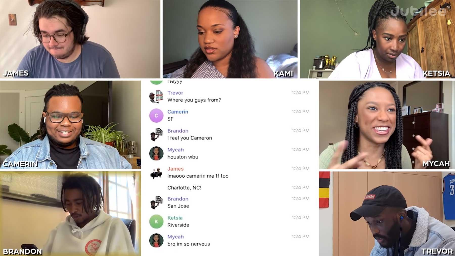 7 Personen versuchen im Chat herauszufinden, wer nicht dunkelhäutig ist