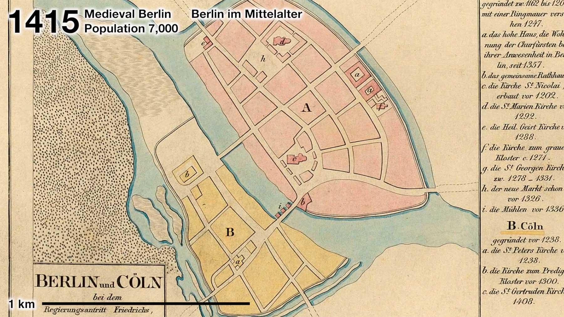 Berlin: Veränderung von Stadtplan und Bevölkerung (1415-2020)