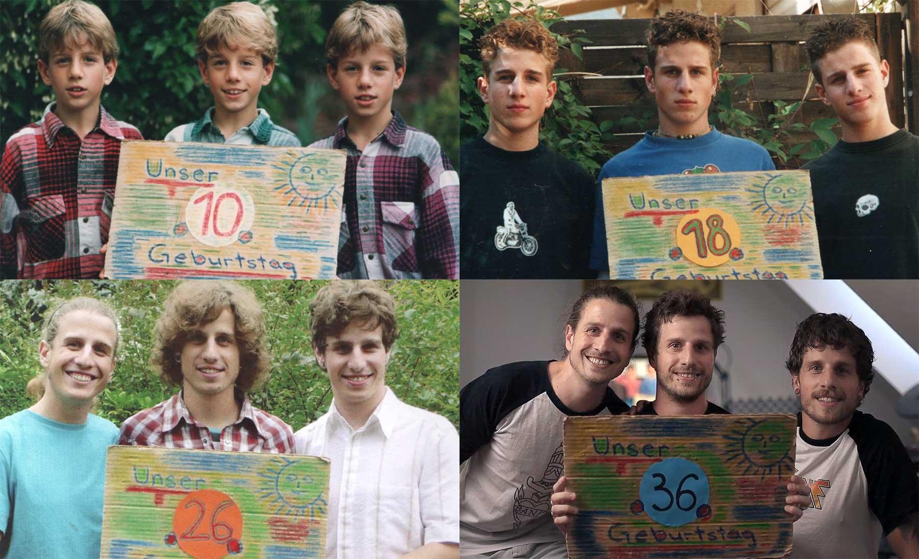 Eineiige Drillinge machen seit 36 Jahren jeden Geburtstag ein Gruppenfoto
