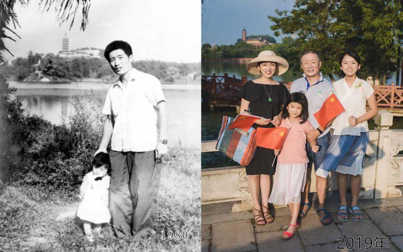 Vater und Tochter machen seit 1980 jährlich ein Foto am gleichen Ort