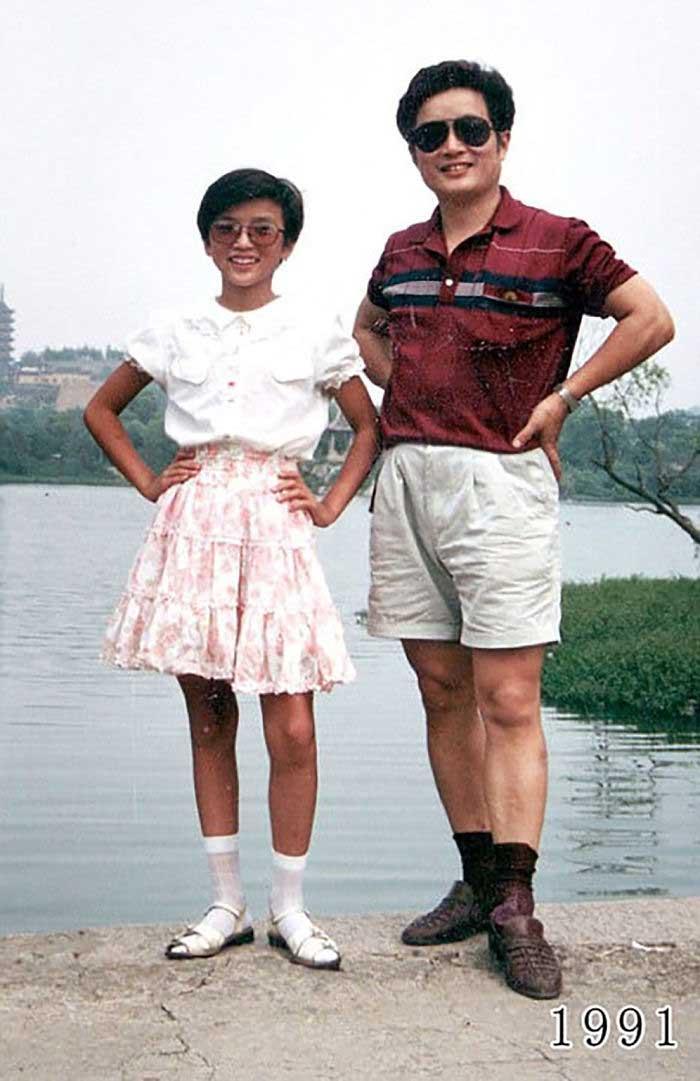 Vater und Tochter machen seit 1980 jährlich ein Foto am gleichen Ort Vater-Tochter-40-Jahre-portraits-gleicher-ort_Hua-Yunqing_12