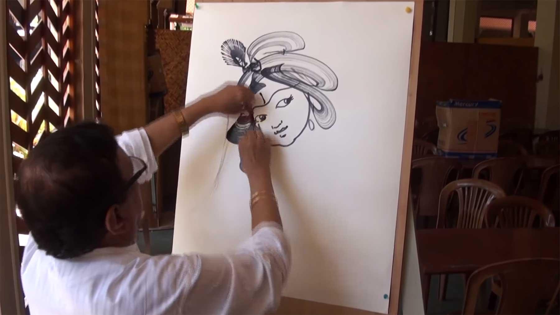 Gemälde mit Schnur und Tinte malen mit-faden-malen