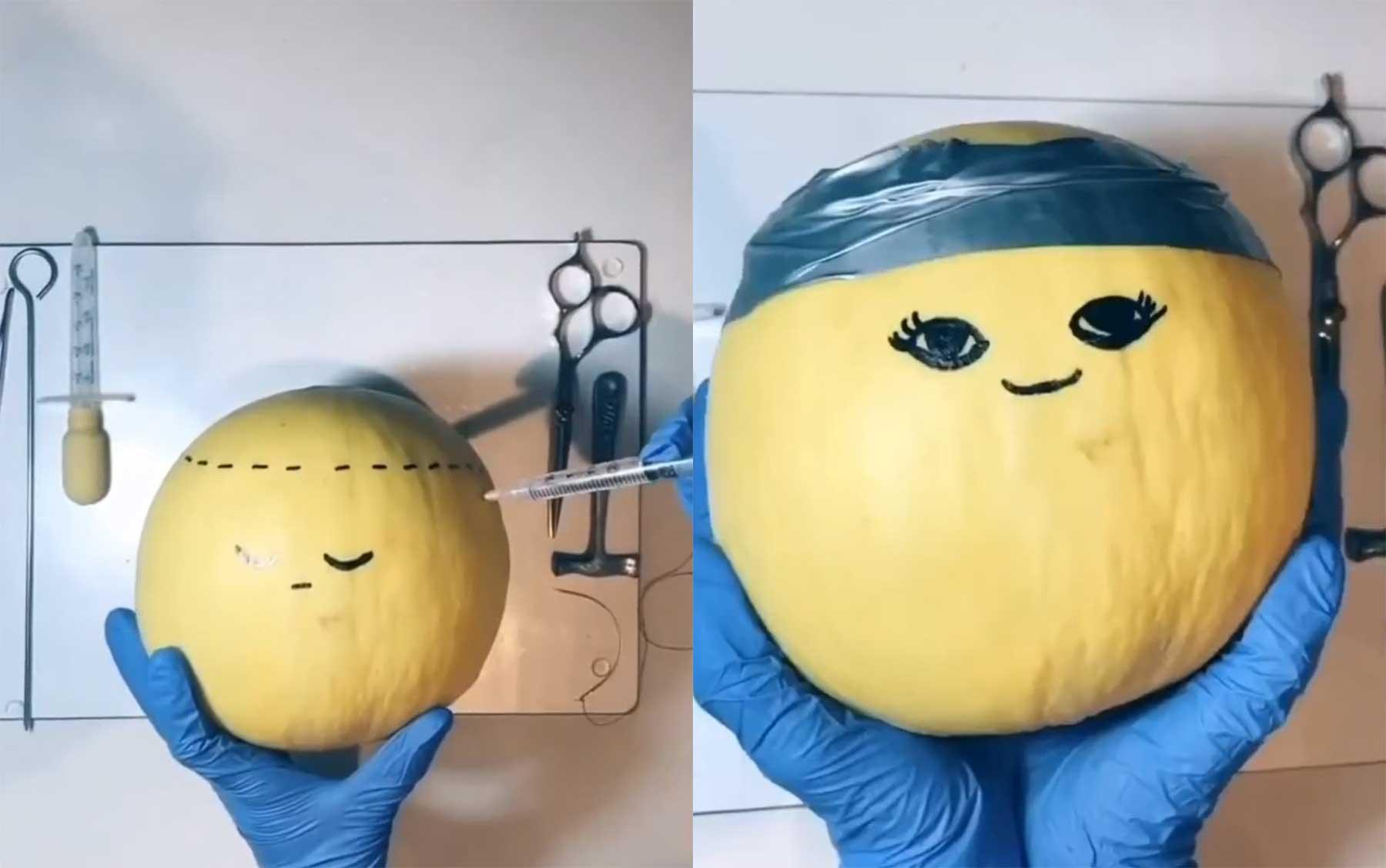 Mädchen operiert Obst und Gemüse