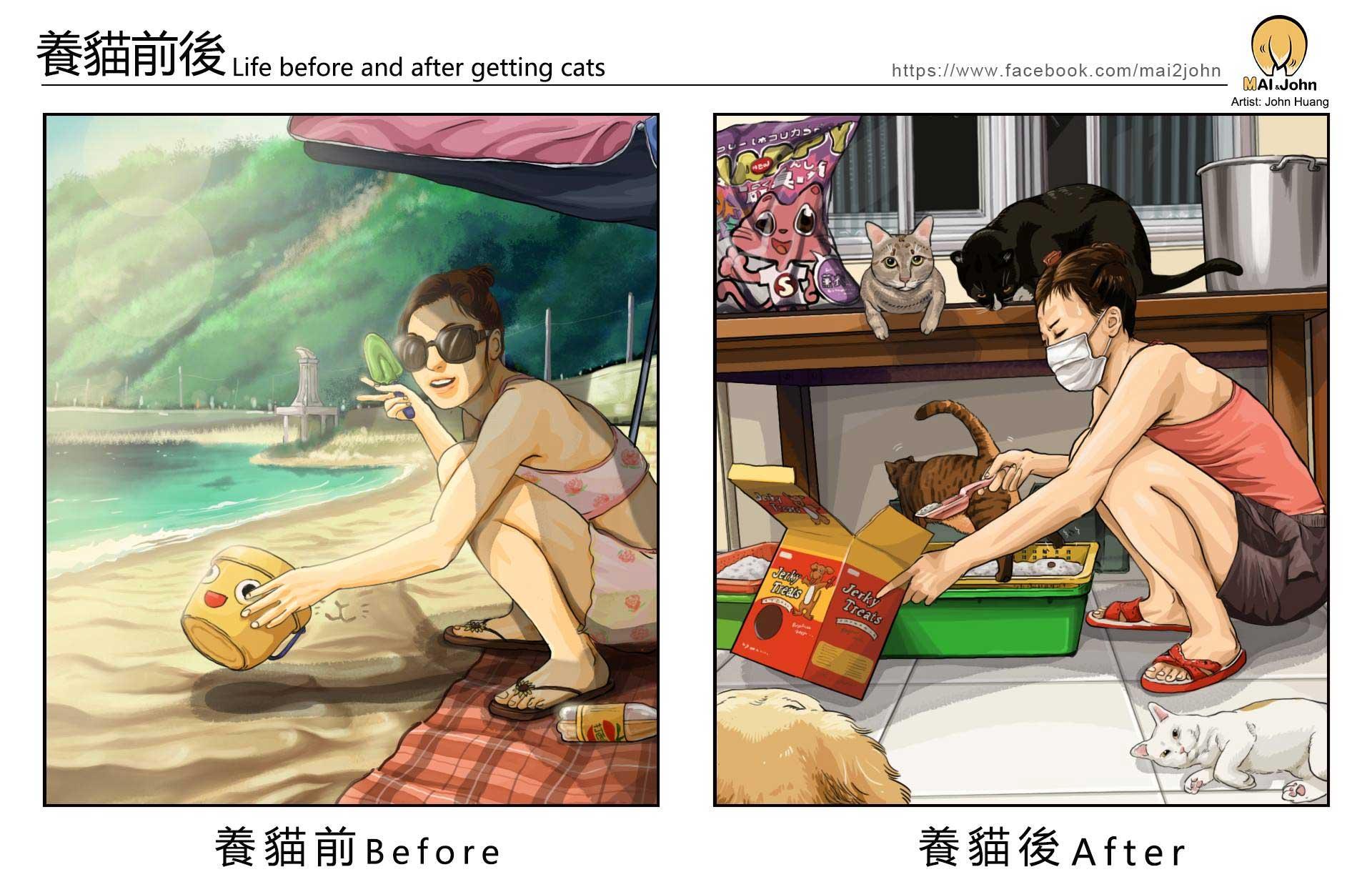 Das Leben vor und nach dem Anschaffen von Haustieren maijohn-life-with-pets_03