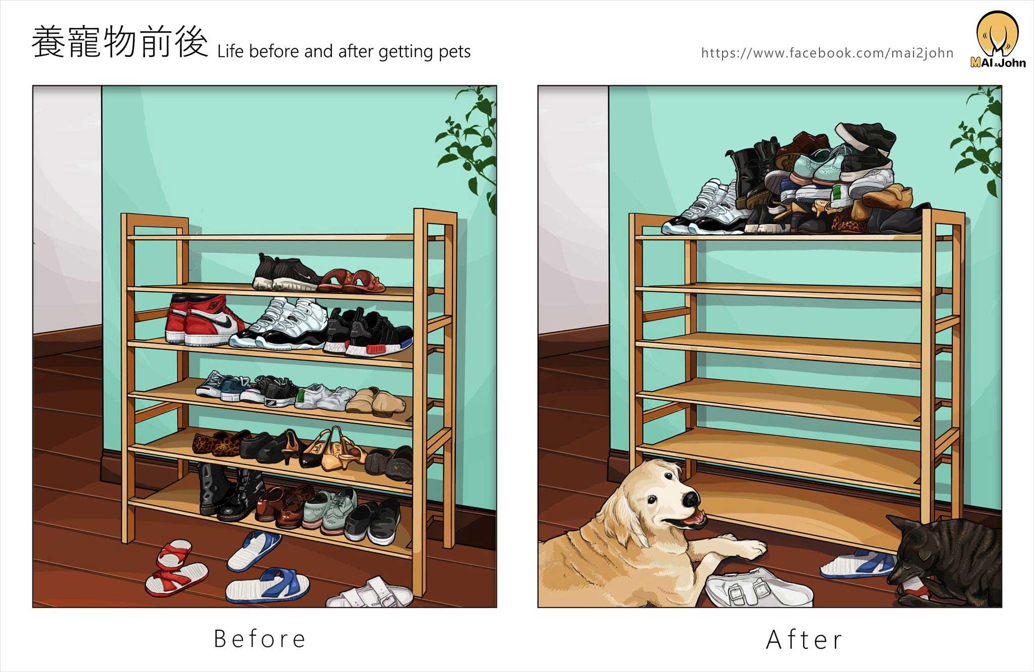 Das Leben vor und nach dem Anschaffen von Haustieren maijohn-life-with-pets_05