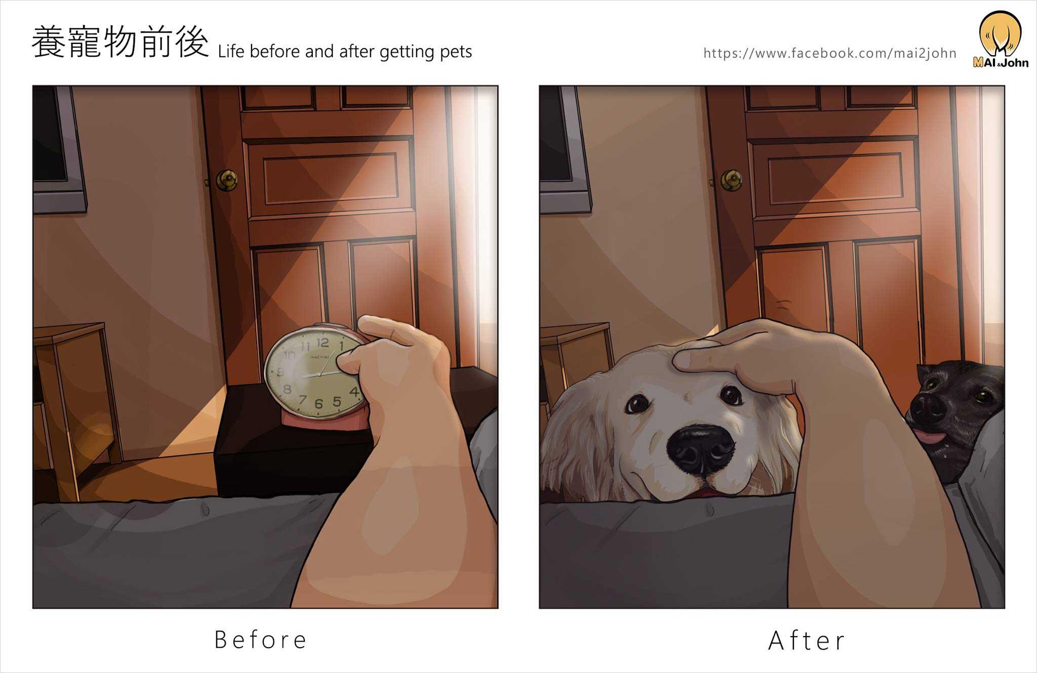 Das Leben vor und nach dem Anschaffen von Haustieren maijohn-life-with-pets_06
