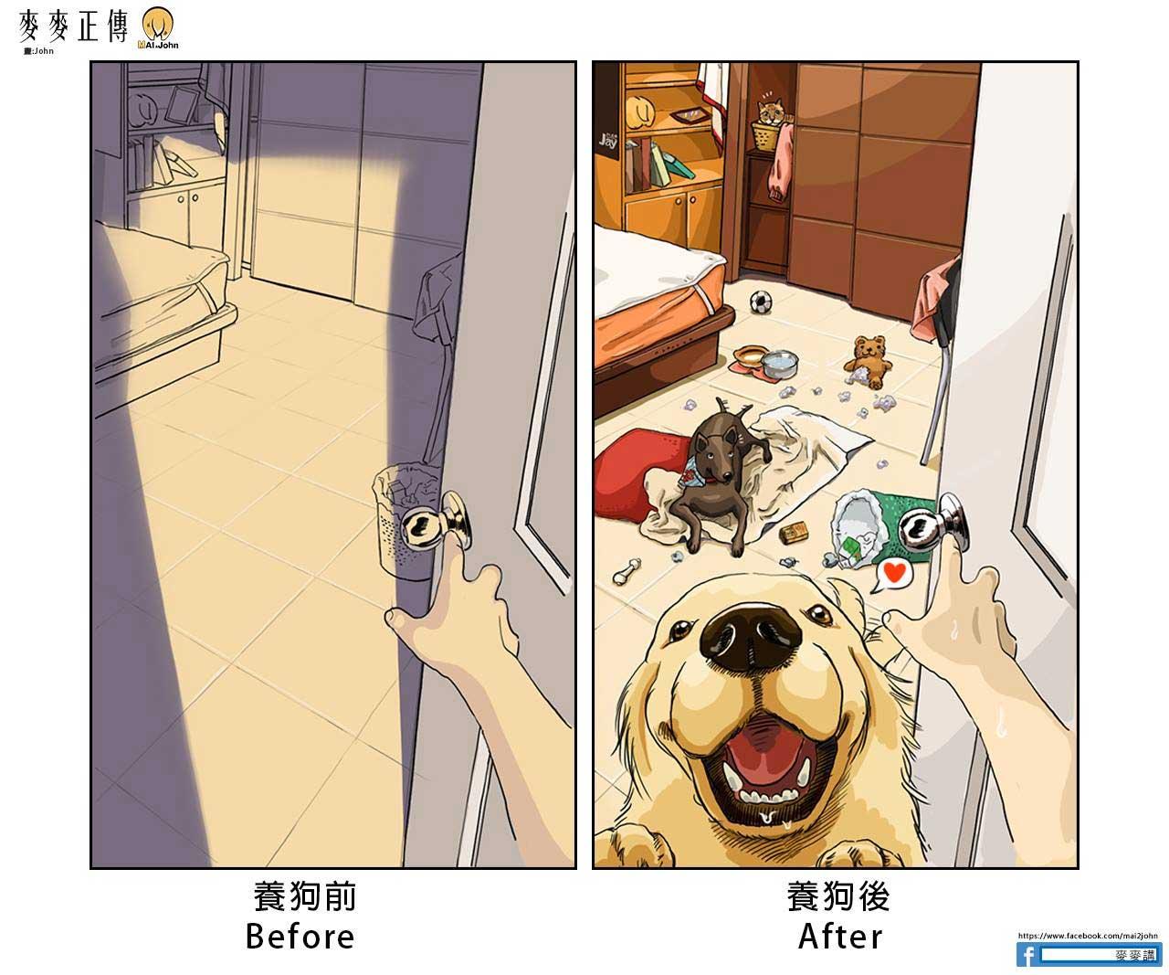 Das Leben vor und nach dem Anschaffen von Haustieren maijohn-life-with-pets_07