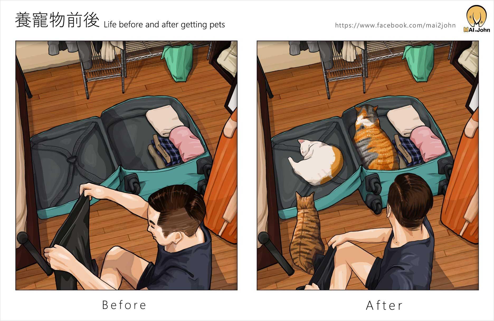 Das Leben vor und nach dem Anschaffen von Haustieren maijohn-life-with-pets_08