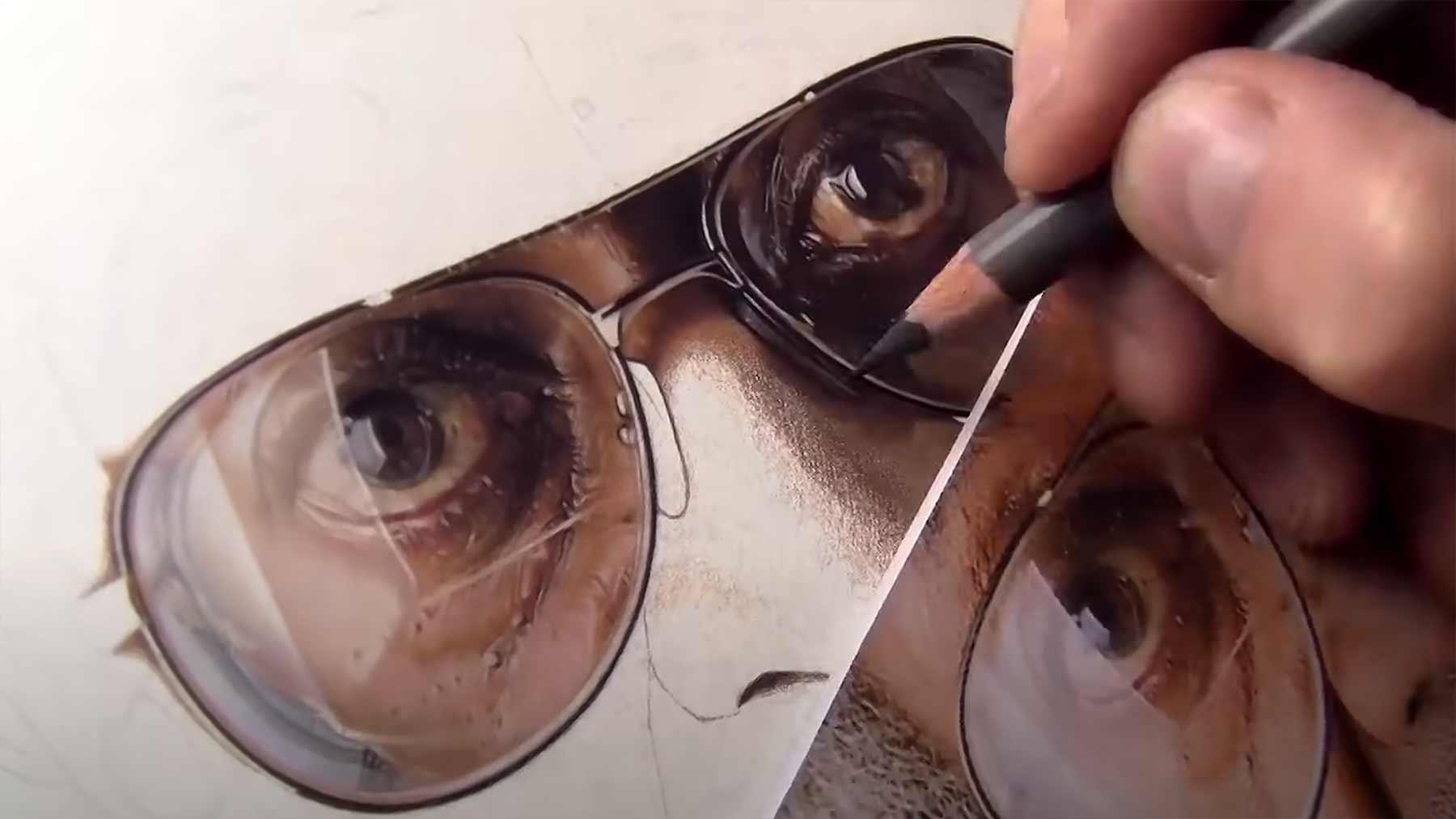 Speedpainting eines hyperrealistischen Buntstift-Portraits speedpainting-hyperrealisches-buntstiftportrait