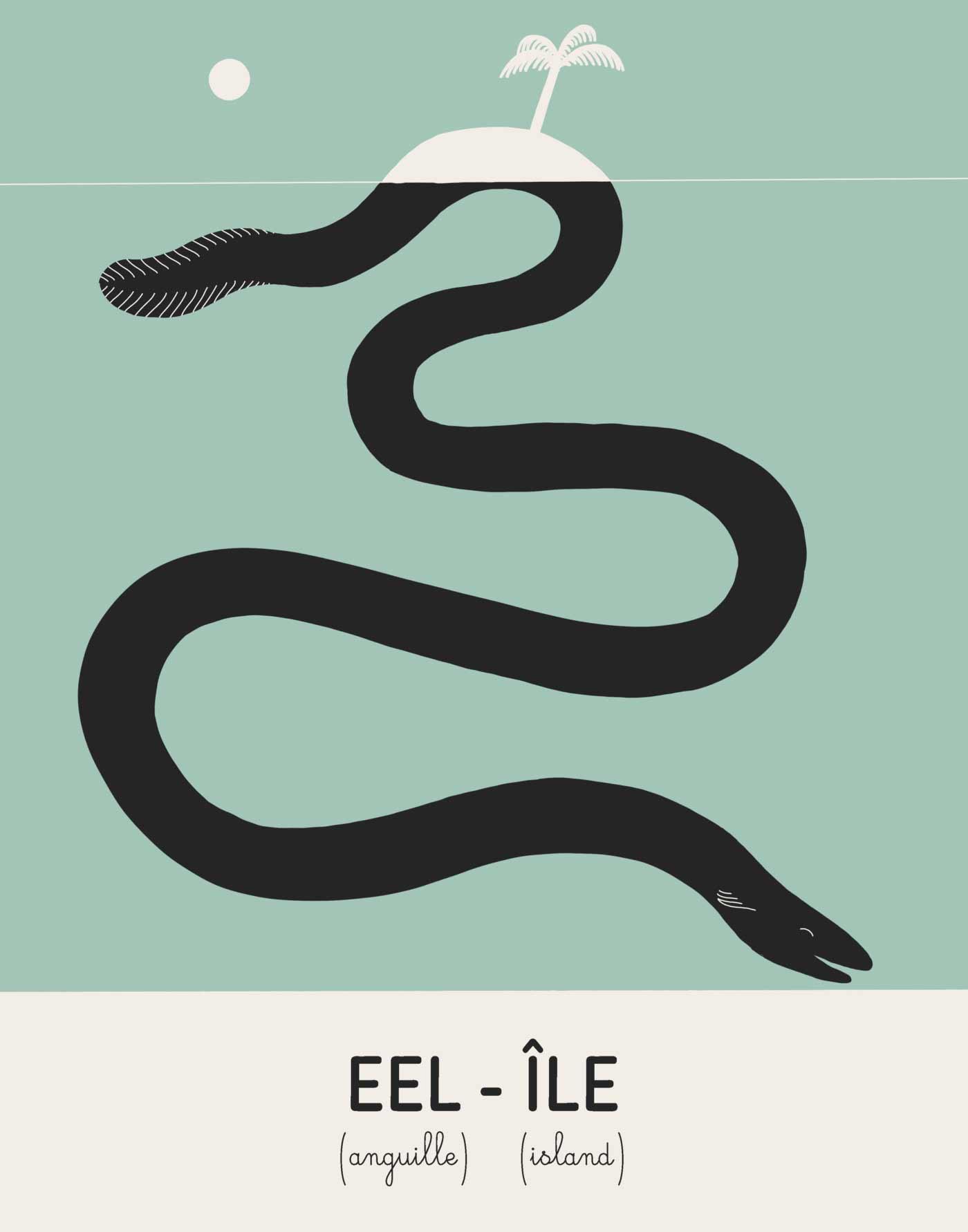 Illustrationen zu Wörtern, die im Englischen und Französischen gleich klingen Julien-Posture-an-eye-for-an-ail_04