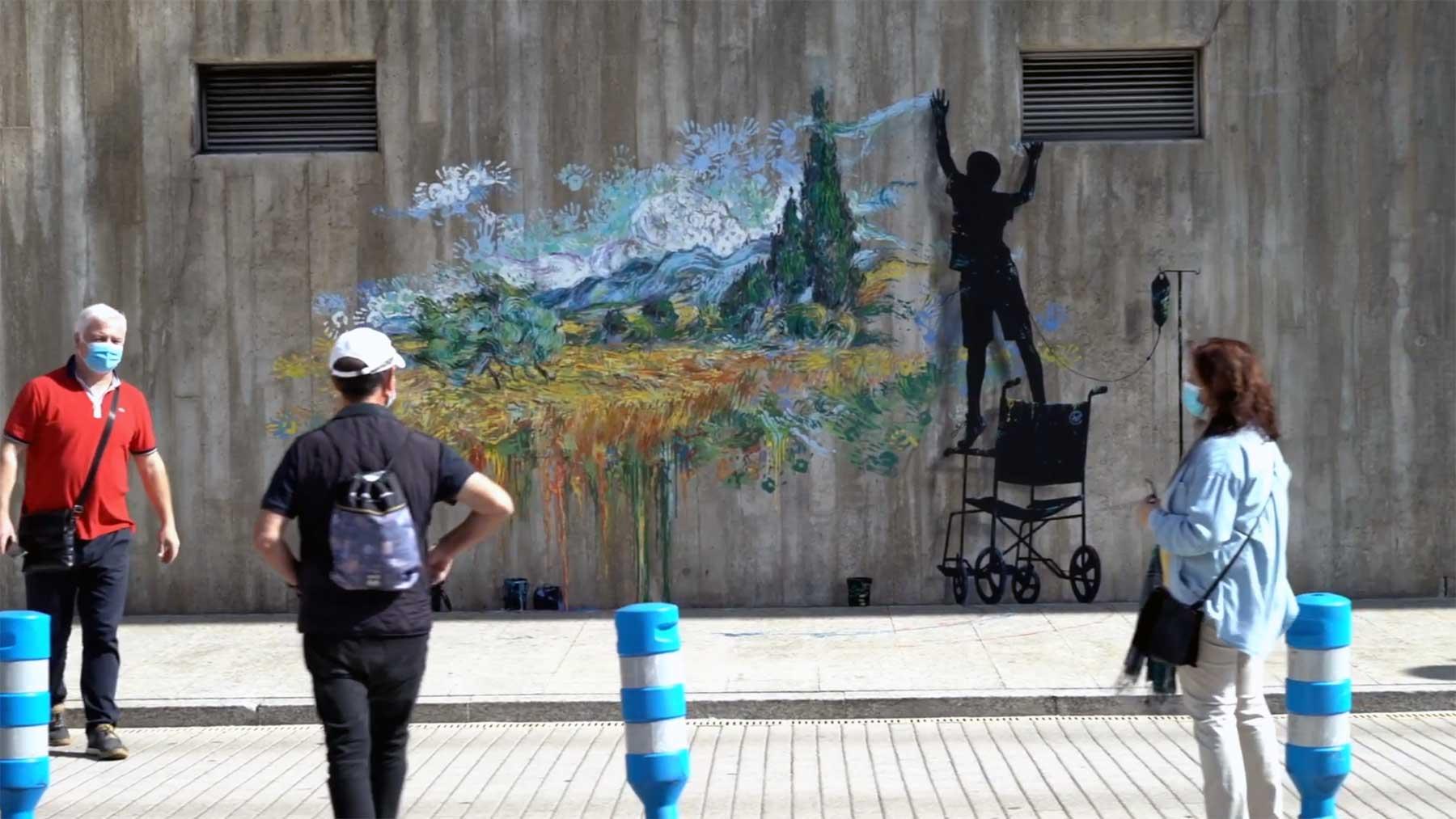 Street Art zu Ehren des spanischen Klinikpersonals