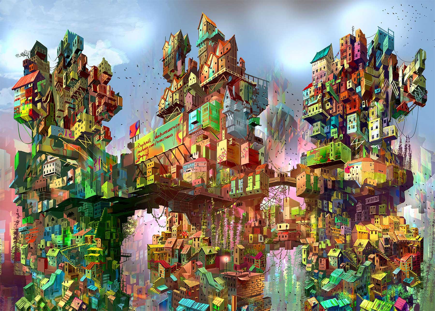 Gemalte Stadttürme von Raphael Vanhomwegen