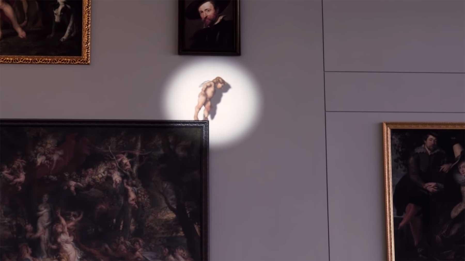 Projektion lässt Amor auf Gemälde fliegen