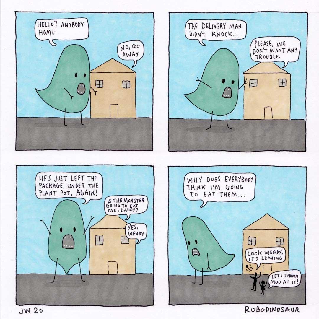 """Alan the Monster""-Webcomics von James Wall RoboDinosaur-alan-the-monster_webcomics_05"