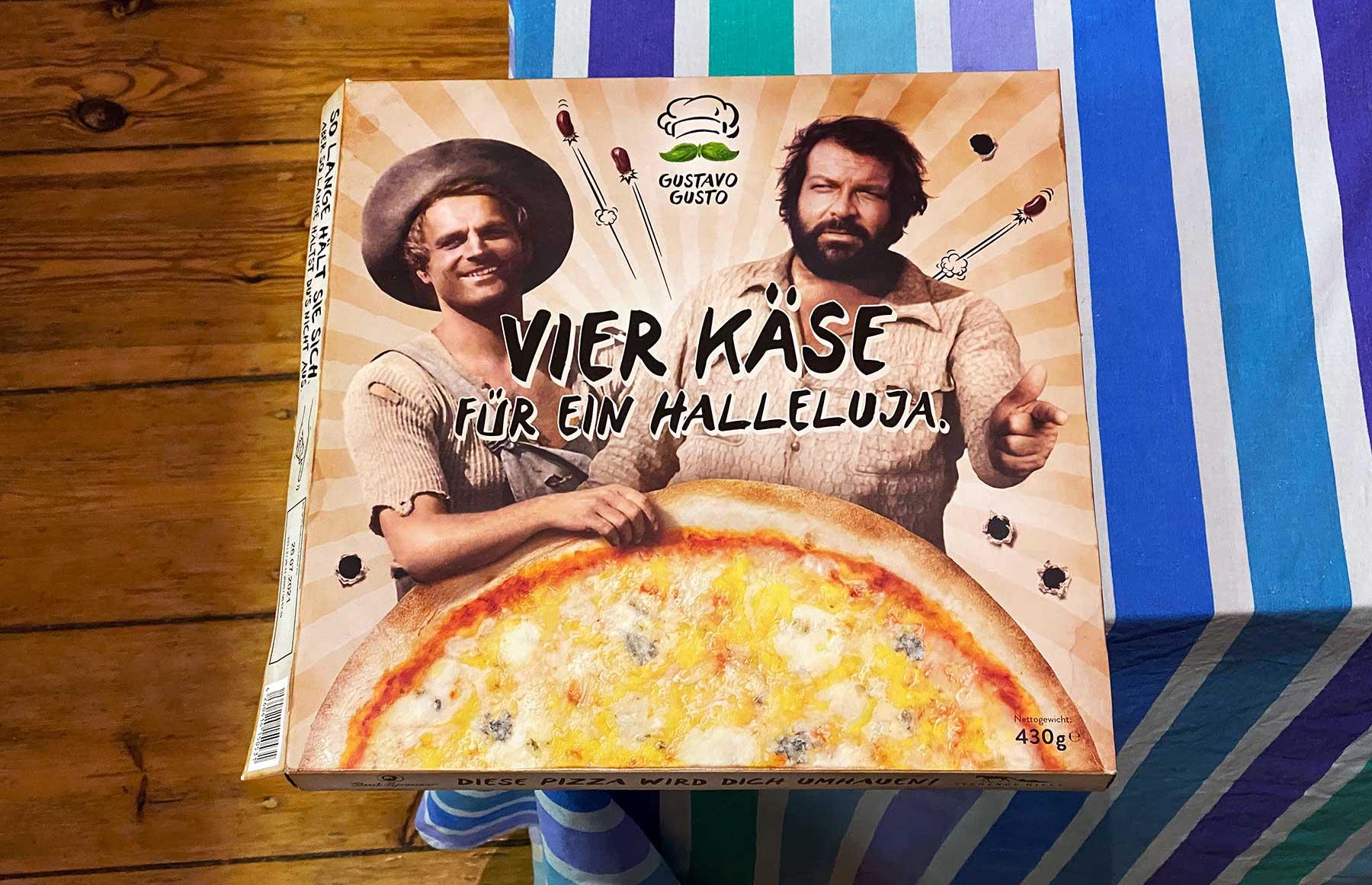 """""""Vier Käse für ein Halleluja."""" – Bud Spencer & Terence Hill Pizza von Gustavo Gusto im Test"""