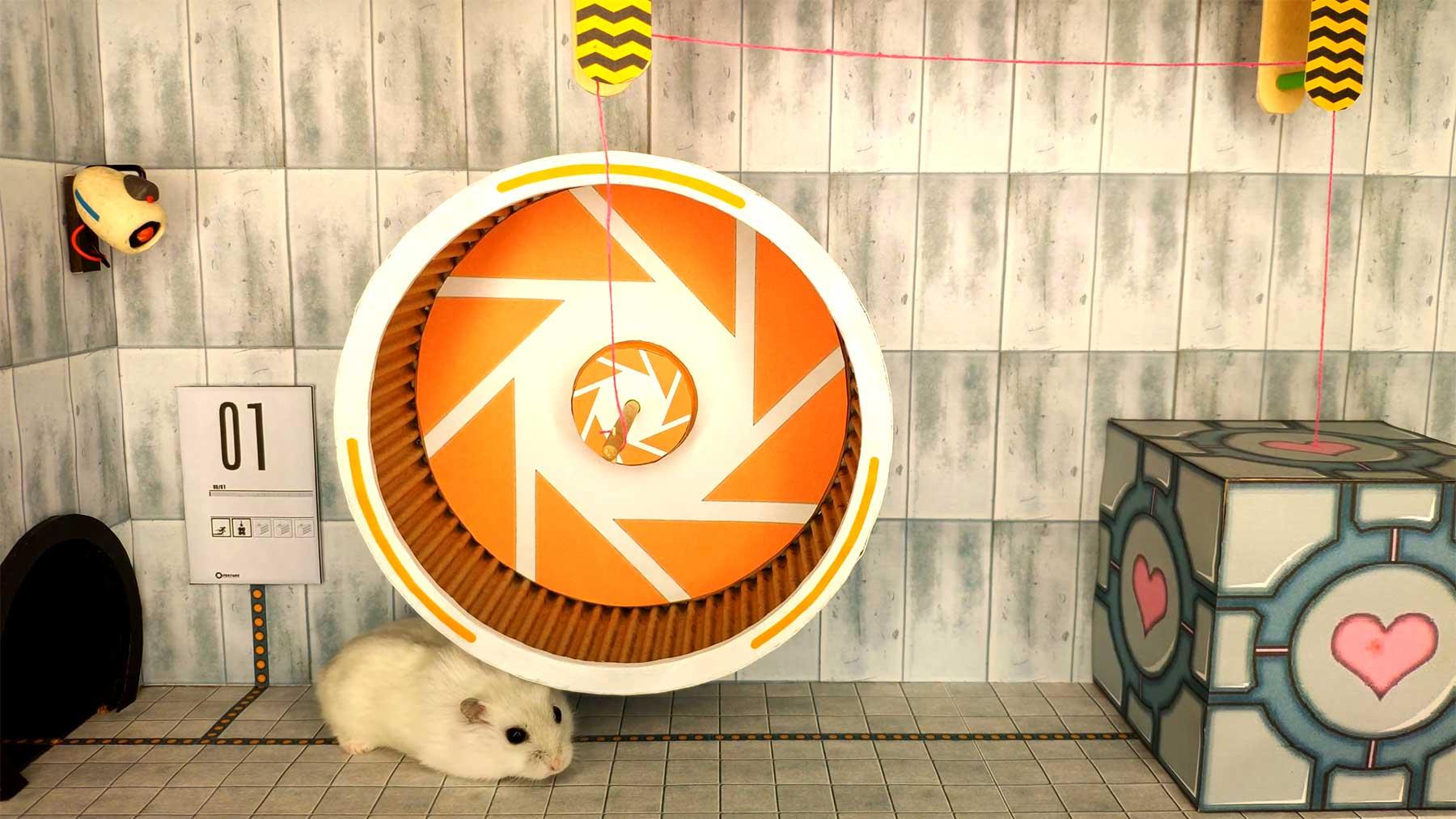 """Hamster-Hindernis-Parcour im """"Portal""""-Design Hamster-Labyrinth-hindernisparcour-portal-look"""