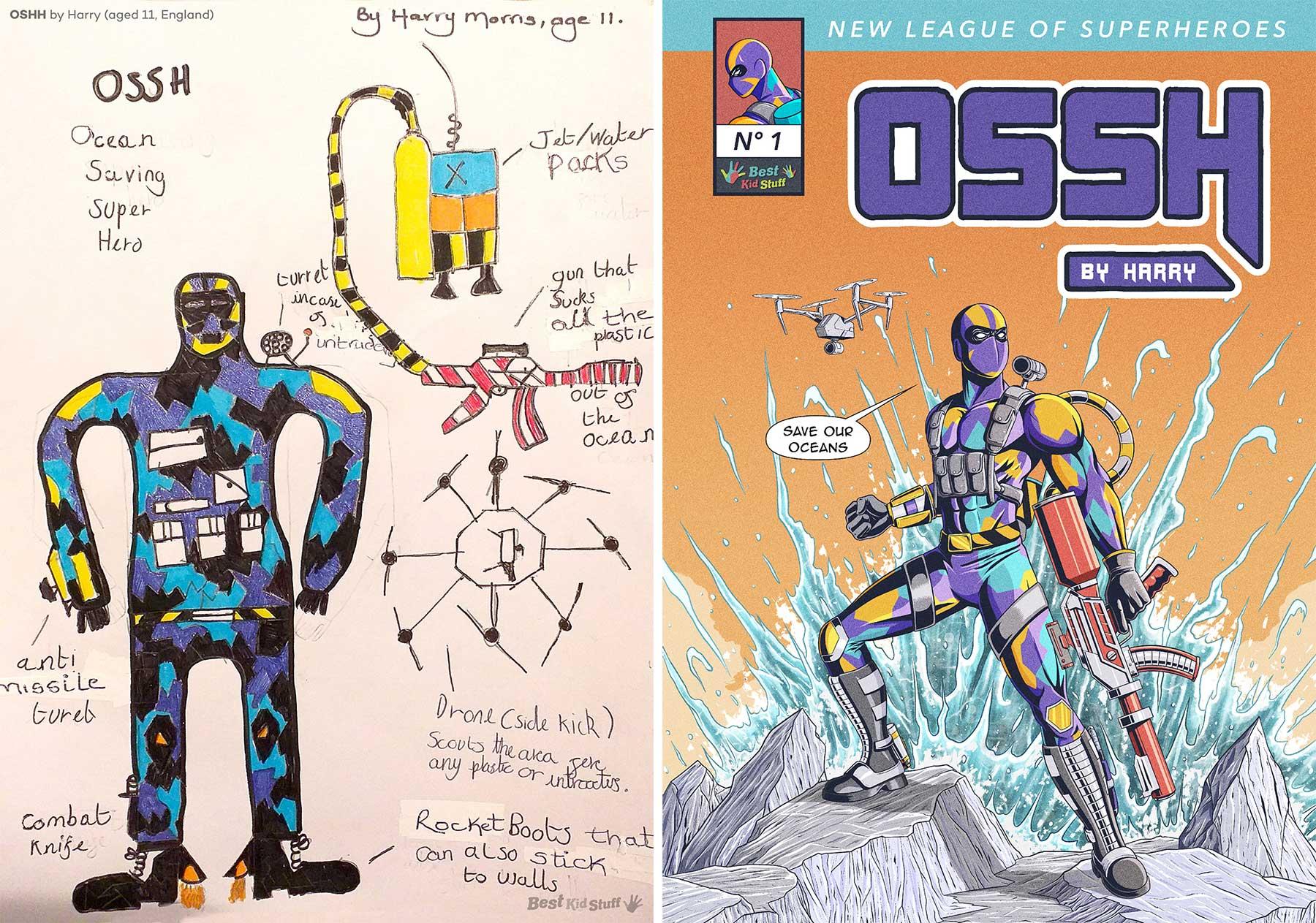 Künstler illustrieren Comic-Cover aus Kinderzeichungen von Superhelden