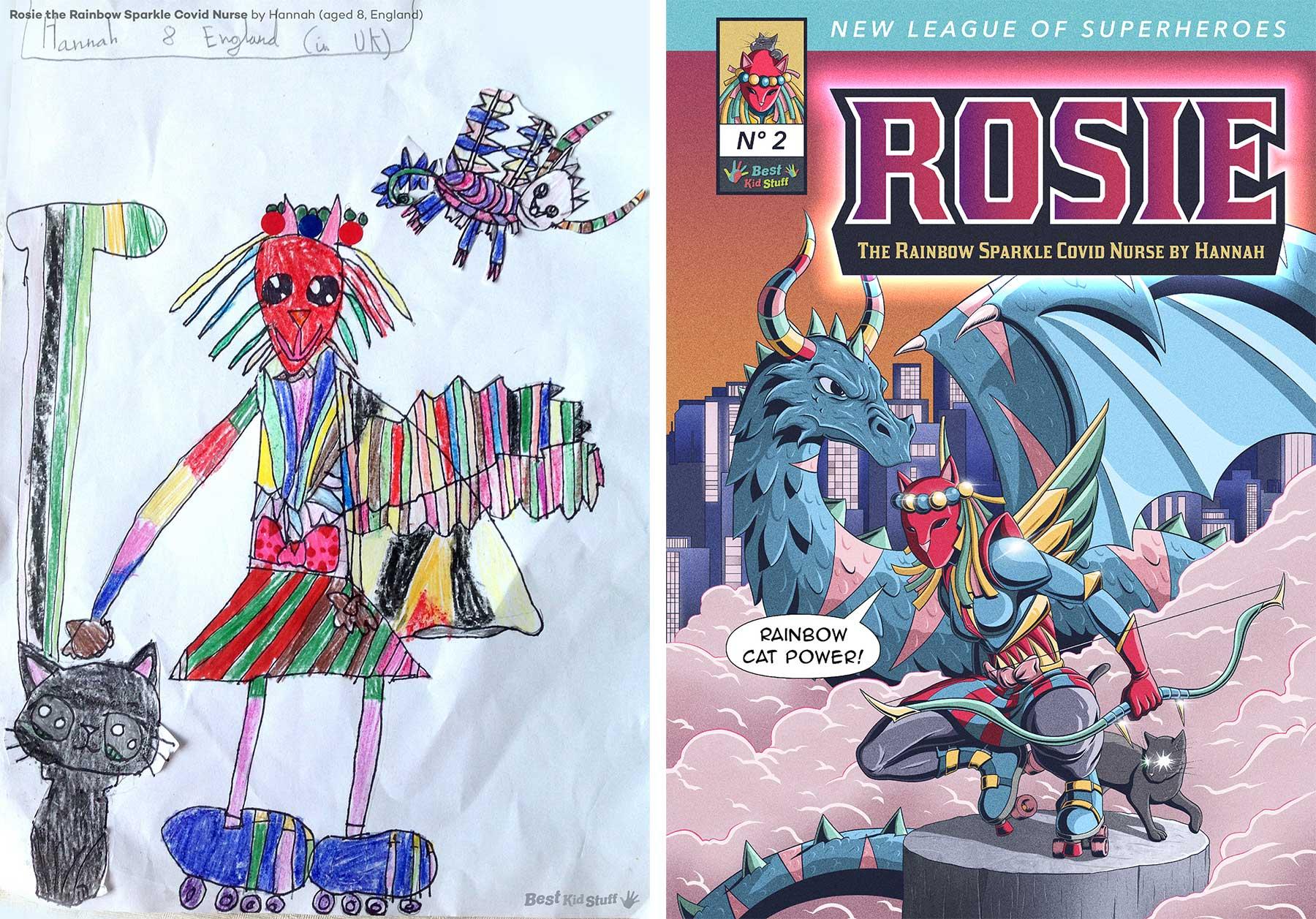 Künstler illustrieren Comic-Cover aus Kinderzeichungen von Superhelden Kinder-malen-Superhelden-profis-illustrieren-comic-cover_02