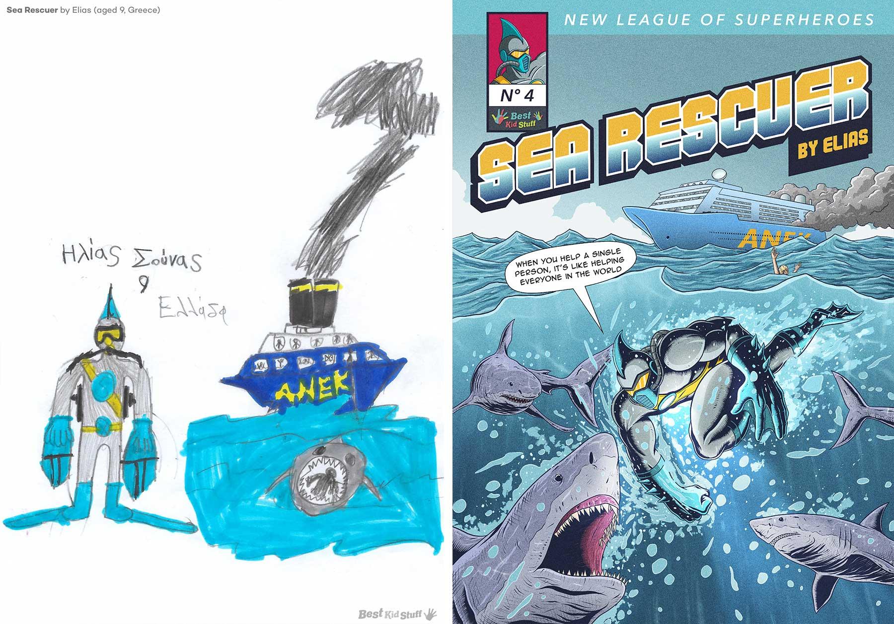 Künstler illustrieren Comic-Cover aus Kinderzeichungen von Superhelden Kinder-malen-Superhelden-profis-illustrieren-comic-cover_03