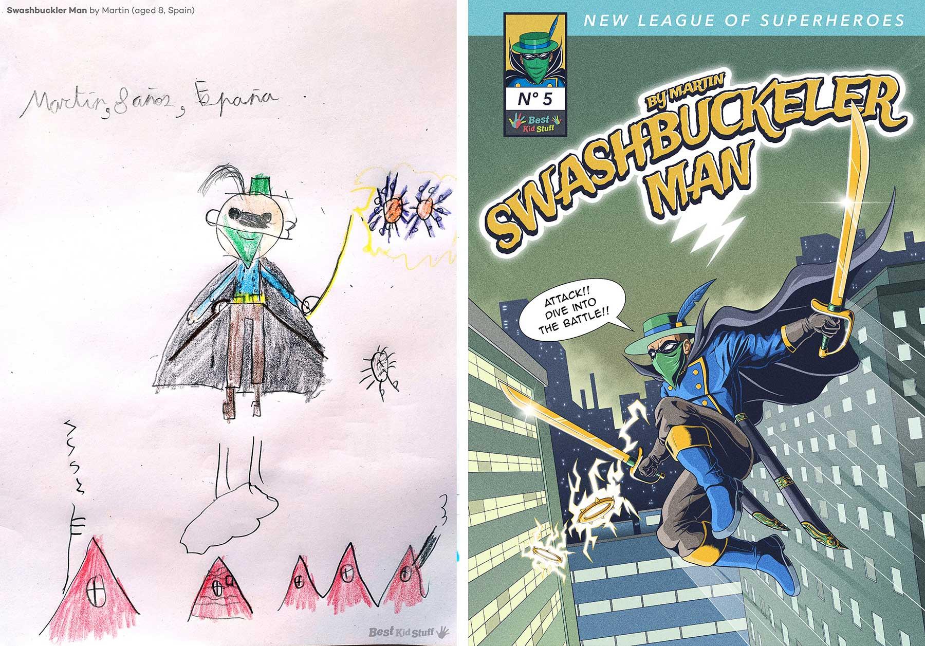 Künstler illustrieren Comic-Cover aus Kinderzeichungen von Superhelden Kinder-malen-Superhelden-profis-illustrieren-comic-cover_04