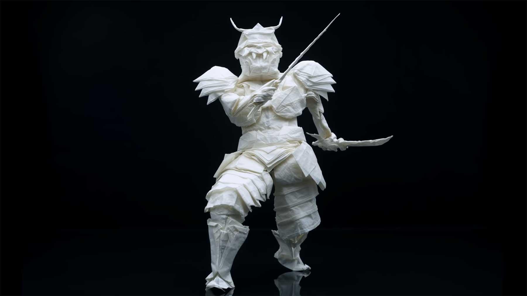 Origami-Samurai aus einem Blatt Papier falten