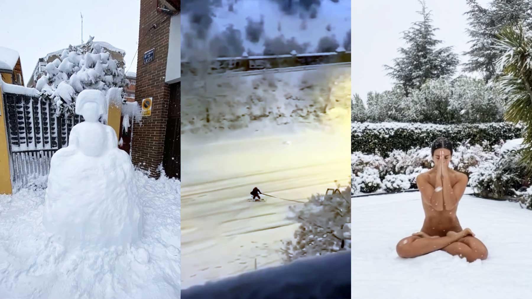 Was in Leute in Spanien mit dem ersten großen Schneefall seit Jahren gemacht haben