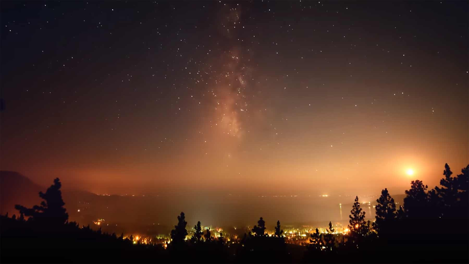 Timelapse: Moon, Milky Way, Meteors and Smoke over Lake Tahoe