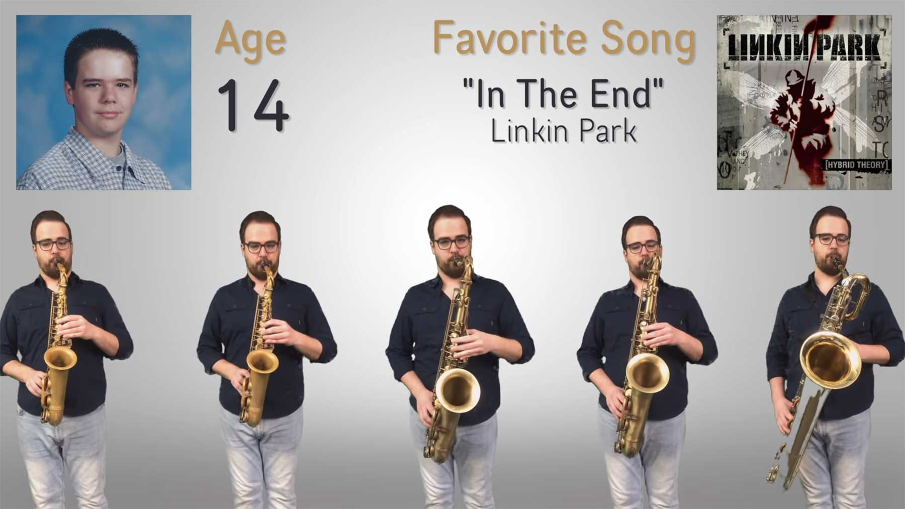 Kevin Miller spielt seine Lieblingssongs der Lebensjahre 8-33 auf dem Saxofon