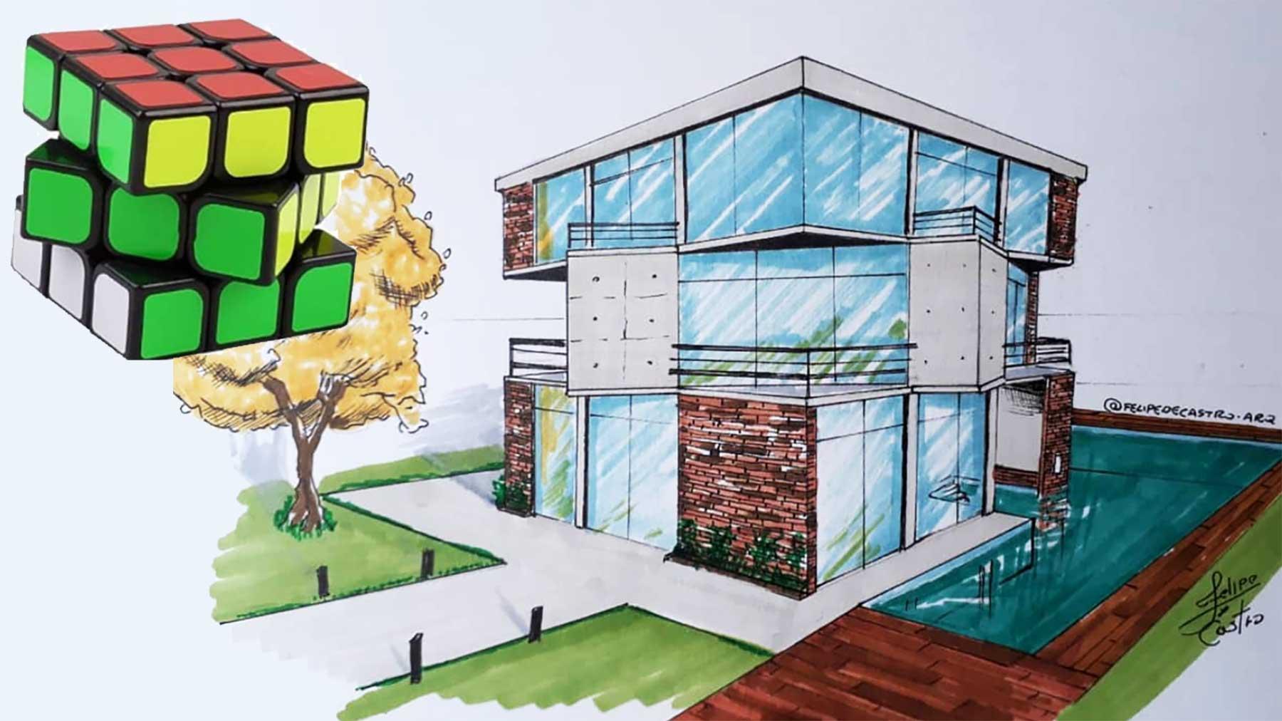 Architekt Felipe de Castro macht aus Gegenständen Gebäudezeichnungen